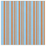 [ Thumbnail: Chocolate and Light Sky Blue Pattern Fabric ]