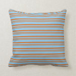 [ Thumbnail: Chocolate and Light Sky Blue Pattern Throw Pillow ]