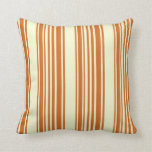 [ Thumbnail: Chocolate and Light Yellow Colored Lines Pillow ]