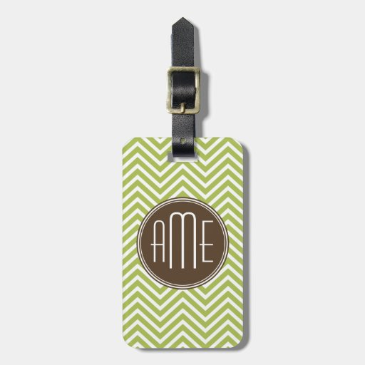 Chocolate and Lime Chevron Pattern with Monogram Luggage Tag