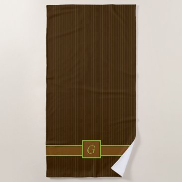Beach Themed Chocolate and Lime Pinstripes Beach Towel