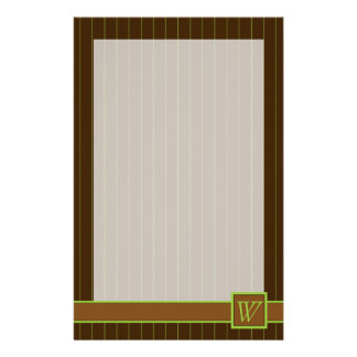 Chocolate and Lime Pinstripes Stationery