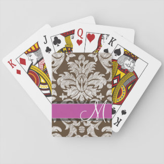Chocolate and Magenta Damask Pattern Monogram Deck Of Cards