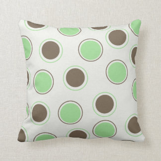 Chocolate and Mint Circles on White MOJO Pillow