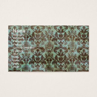 Chocolate and Mint Vintage Wallpaper Business Card