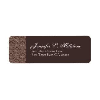 Chocolate and Mocha Damask Return Address Label