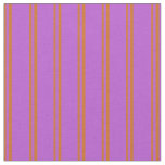[ Thumbnail: Chocolate and Orchid Colored Stripes Fabric ]