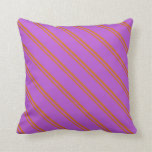 [ Thumbnail: Chocolate and Orchid Colored Stripes Throw Pillow ]