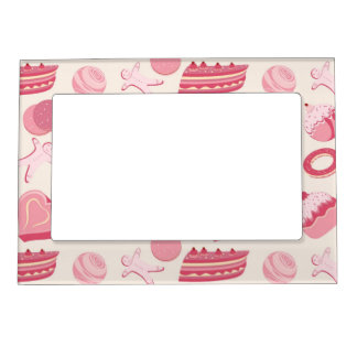 Chocolate and pastries pattern 2 magnetic picture frame