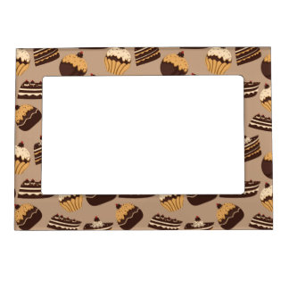Chocolate and pastries pattern 3 magnetic photo frame