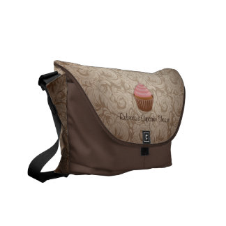 Chocolate and Pink Cupcake with Damask Pattern Commuter Bags