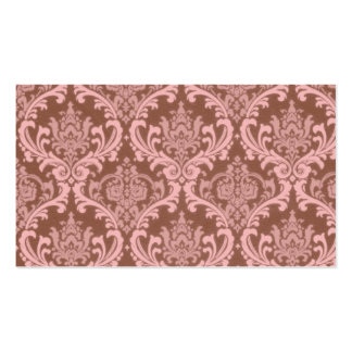 Chocolate and Pink Damask Business Cards