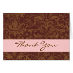 Chocolate and Pink Elegant Thank You H206 Greeting Card