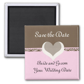 Chocolate and Pink Save the Date 2 Inch Square Magnet