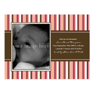 Chocolate and Pink Stripe Baby Announcement Postcard