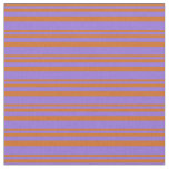 [ Thumbnail: Chocolate and Purple Colored Lines Fabric ]