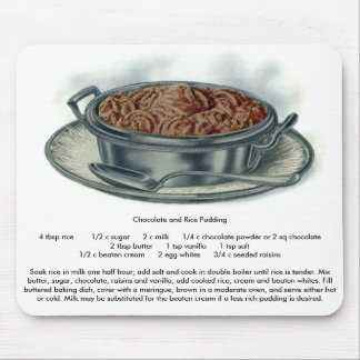 Chocolate and Rice Pudding Vintage Dessert Mouse Pad