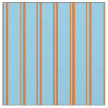 [ Thumbnail: Chocolate and Sky Blue Stripes/Lines Pattern Fabric ]