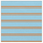 [ Thumbnail: Chocolate and Sky Blue Stripes Pattern Fabric ]