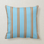 [ Thumbnail: Chocolate and Sky Blue Stripes Pattern Pillow ]