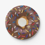 Chocolate and Sprinkle Donut Celebration 7 Inch Paper Plate