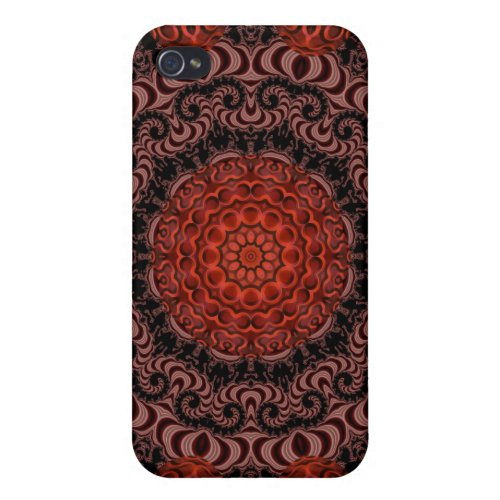 Chocolate and Strawberries Mandala, Abstract iPhone 4 Covers