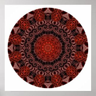 Chocolate and Strawberries Mandala, Abstract Poster