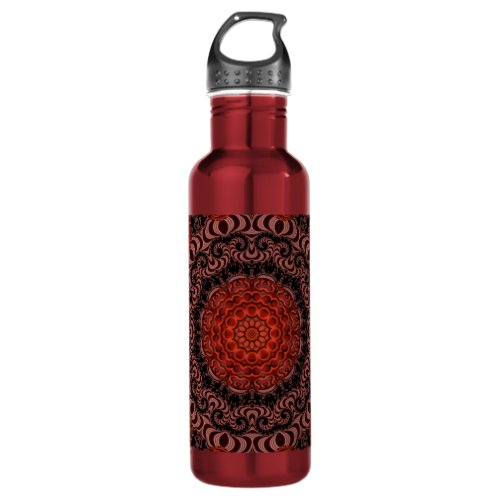 Chocolate and Strawberries Mandala, Abstract Stainless Steel Water Bottle