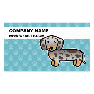 Chocolate And Tan Dapple Smooth Coat Dachshund Double-Sided Standard Business Cards (Pack Of 100)