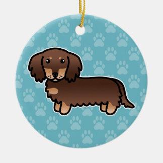Chocolate And Tan Long Coat Dachshund Cartoon Dog Ceramic Ornament