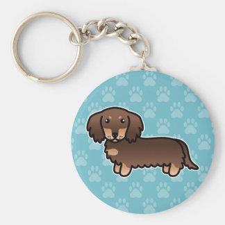 Chocolate And Tan Long Coat Dachshund Cartoon Dog Keychain