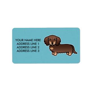 Chocolate And Tan Long Coat Dachshund Cartoon Dog Label