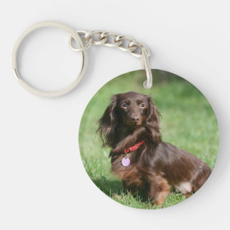 Chocolate and Tan Long-haired Miniature Dachshund Double-Sided Round Acrylic Keychain
