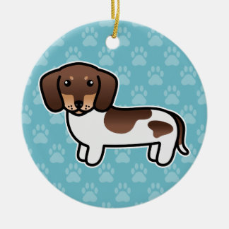 Chocolate And Tan Piebald Smooth Coat Dachshund Christmas Tree Ornament