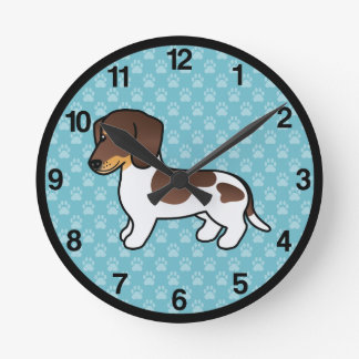 Chocolate And Tan Piebald Smooth Coat Dachshund Round Clock