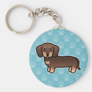Chocolate And Tan Smooth Coat Dachshund Dog Keychain