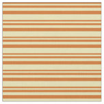 [ Thumbnail: Chocolate and Tan Stripes Fabric ]