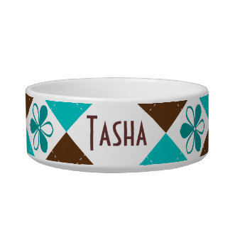 Chocolate and Teal Argyle with Flowers Pet Dish