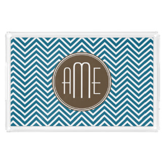 Chocolate and Teal Chevron Pattern with Monogram Rectangle Serving Trays