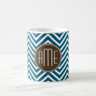 Chocolate and Teal Chevron Pattern with Monogram Coffee Mug