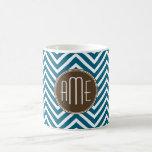 Chocolate and Teal Chevron Pattern with Monogram Mug