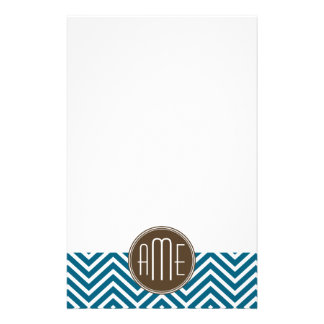 Chocolate and Teal Chevron Pattern with Monogram Stationery