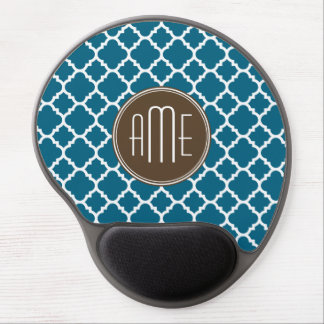 Chocolate and Teal Quatrefoil Pattern Monogram Gel Mouse Pad