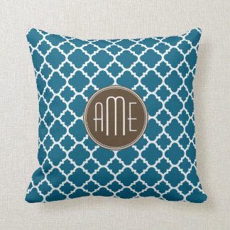 Chocolate and Teal Quatrefoil Pattern Monogram Throw Pillow