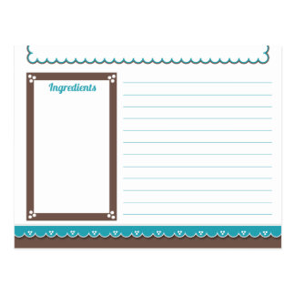 Chocolate and Turquoise Recipe Card Post Cards