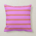 [ Thumbnail: Chocolate and Violet Colored Lines Throw Pillow ]