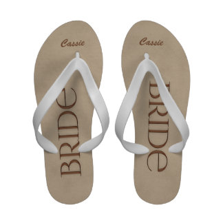 Chocolate and White Bride s Wedding Slippers Sandals
