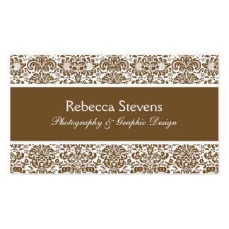 Chocolate and White Damask Business Card