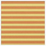 [ Thumbnail: Chocolate and Yellow Colored Lines Pattern Fabric ]