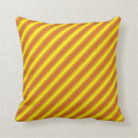 [ Thumbnail: Chocolate and Yellow Colored Lines Pattern Pillow ]